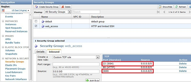 Amazon EC2 Unblock SVN Server Port In Security Groups
