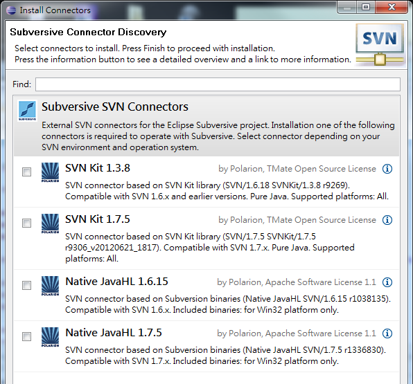 Eclipse Install Subversive SVN Connectors Dialog