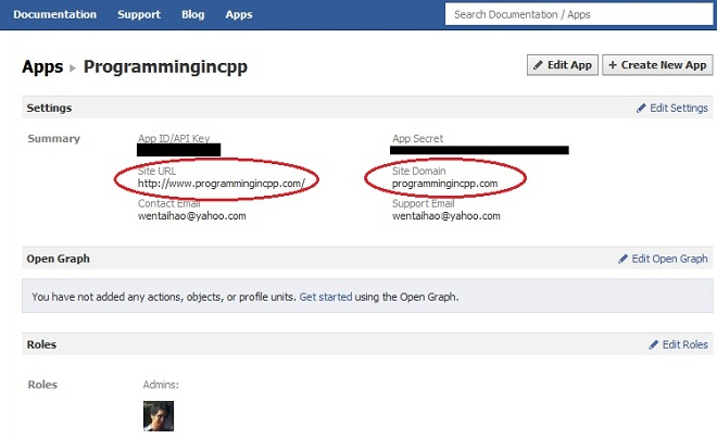 Example Facebook App Settings Screenshot