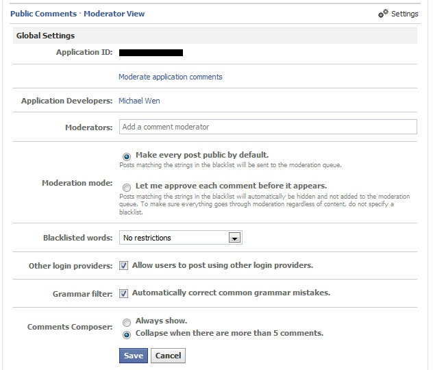 Facebook Comment Widget Moderator View Settings Screenshot