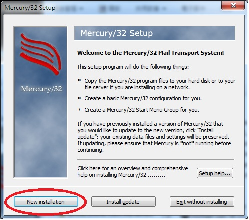 Mercury 32 Mail Transport System Setup Dialog