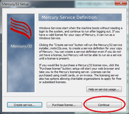 Mercury 32 Mail Transport System Setup Mercury Service Definition