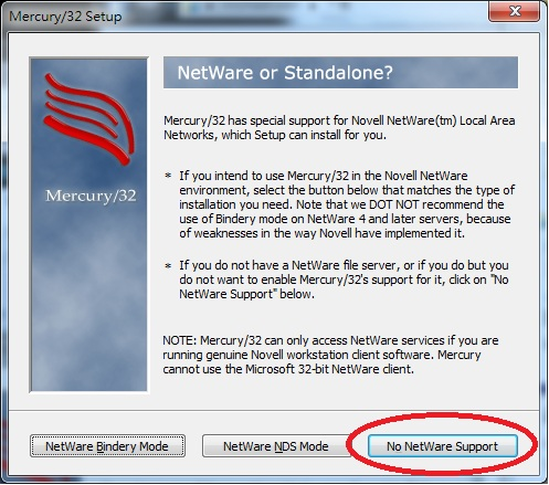 Mercury 32 Mail Transport System Setup Netware Or Standalone